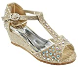 Girls Kids KOS Gold Glitter Bling Rhinestone Ankle T-Strap Peep Toe Wedge Heel Dress Sandals-3