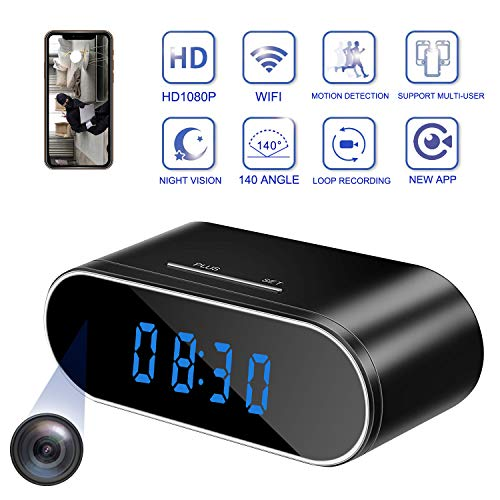Hidden Spy Camera Clock WiFi, 1080P Wireless Nanny Cam with Motion Detection and Night Vision, Perfect 140 Angle Camera Clock for Home Office Security