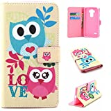 LG G Stylo / LG G Stylus (LS770) Case, Jenny Shop - Design Dual-Slim Fit Use Flip PU Leather Fold Card Holder Slots Wallet Pouch Case for LG G Stylo / LG G Stylus (LS770) (Owls Love)