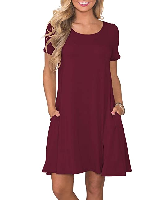 348573548ab5 KORSIS Women's Summer Casual T Shirt Dresses Short Sleeve Swing ...