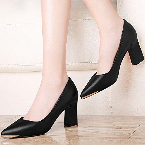 HUAIHAIZ Tacones de mujer Los zapatos de tacón alto negro zapatos PU work noche zapatos zapatos de mujer Black 7.5CM