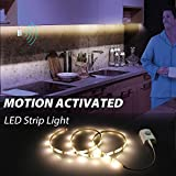 Motion Detector Night Lights, Derlson Motion Activated LED Strip Lights Kit for Cabinet Closet,Kitchen Counter,Bathroom, Under Bed, Laundry,Wardrobe [ Rechargeable 1100 Mah Battery, 39 Inch ]