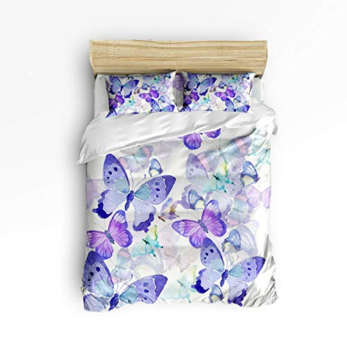 Set Painted Bed Hand (YEHO Art Gallery Twin Size Duvet Cover Set Soft Bed Sheet Set for Kids,Purple Butterfly Hand Painted Bedding Sets Home Decor,4pcs Include 1 Flat Sheet 1 Duvet Cover and 2 Pillow Cases)