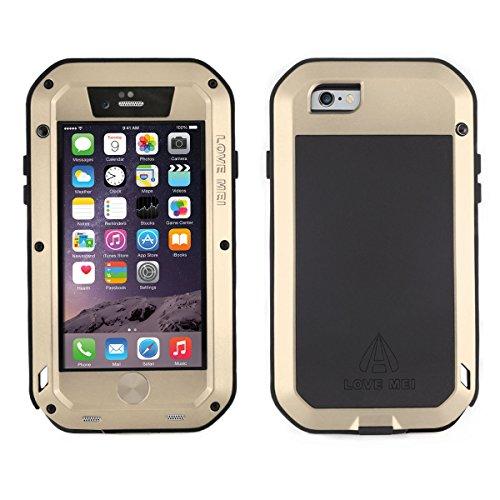 Alienwork Schutzhülle für iPhone 6/6s Champagner-Gold Hülle Case Bumper geeignet für Fingerabdruck Staubdicht Schneedicht Metall gold AP605-03