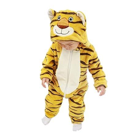 JJAIR Traje el Mono Animal del bebé, Traje de Franela con Capucha ...