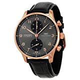 IWC Portuguese Grey Dial Chronograph Rose Gold Leather Automatic Mens Watch IW371482