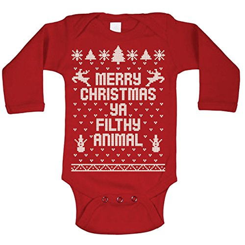 amazoncom merry christmas ya filthy animal ugly christmas sweater contest party xmas baby long sleeve one piece clothing - Merry Christmas Ya Filthy Animal