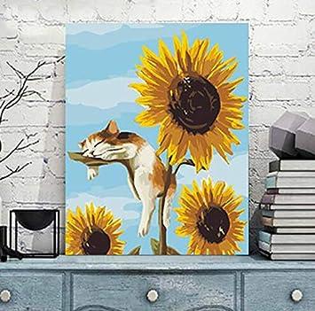 Liliya& Pintura por Kit Digital, DIY Pintura al óleo Dibujo Gato Girasol Lona y Cepillo