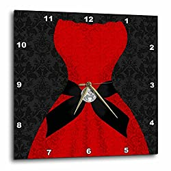 3dRose Red Strapless Dress with Black Damask and Digital Bling Wall Clock, 13 x 13