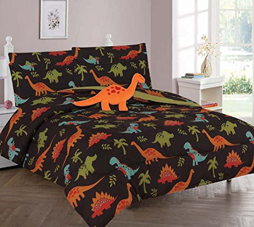 Decotex 6 Piece or 8 Piece Brown Dinosaur Jurassic Kids Bed in a Bag Comforter Bedding Set With Plush Toy and Matching Sheet Set (Full 8 Piece Comforter)