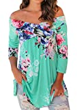 Sisiyer Women's Casual Floral Print Off Shoulder 3/4 Sleeve Blouse Top Dress Mint X-Large