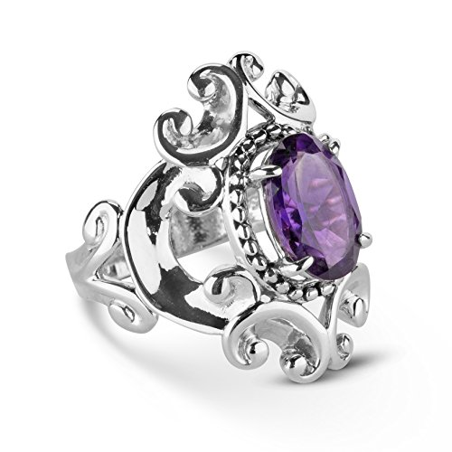 - Carolyn Pollack Sterling Silver Purple Amethyst Birthstone Gem Filigree Scroll Ring Size 06
