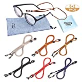 8 Pack Eyeglasses Holder Strap Set, 6 Multi-Colored PU Leather Non-Slip Eyewear Retainer String Necklace Cord, Womens Mens Sunglasses Eyeglasses Strap Chain for Sports Travelers Drivers