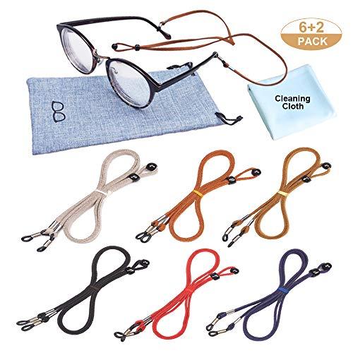 Red VORCOOL Eyeglasses Holder Strap Cord Premium Leather Eyeglasses String Holder Chain Necklace Glasses Cord Lanyard Eyeglass Retainer for Men Women Kids