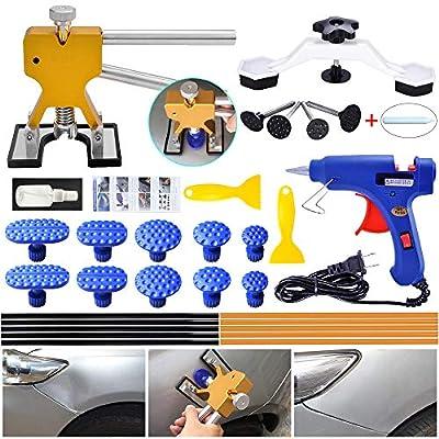 YOOHE Auto Paintless Dent Repair Kits - Golden Car Dent Puller with Bridge Dent Puller Kit for Car Hail Damage and Door Dings Repair: Automotive
