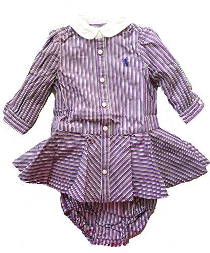Ralph Lauren Infant Dresses (Ralph Lauren Baby Girls' Striped Dress & Bloomer (6 Months, NAVY/TROPIC PURPLE))