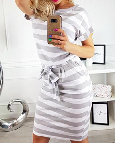 Gray Silm Belted Women Printed Stripes Home Fit Dresses Crewneck Coolred Cozy Pockets PW6xSWz