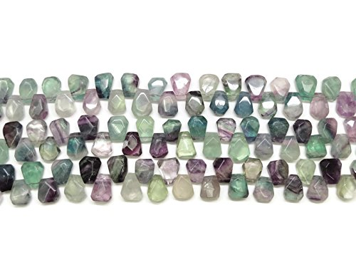 - Multicolor Flourite Teardrop Faceted Pendant Strand - Jewelry Making Supplies