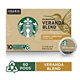 Starbucks Veranda Blend Blonde Roast Single Cup Coffee for Keurig Brewers, 10 Count K-Cup Pods, Pack of 6