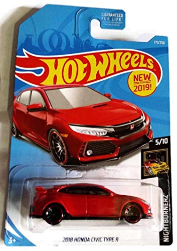 Hot Wheels 2019 Nightburnerz 5/10 - Red 2018 Honda Civic Type R #171/250 - U.S. Mainline Card