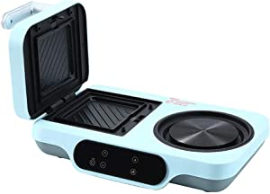 Retro 4 in 1 Toaster Family Size Breakfast Station Multifunction Bread Sandwich Breakfast Machine with Frying Pan Boiling Pot Steaming Pan,Blue,Type A