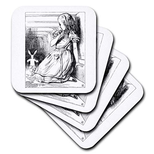 3dRose CST_193789_2 Follow The White Rabbit Alice in Wonderland John Tenniel Illustration Soft Coasters, Set of 8