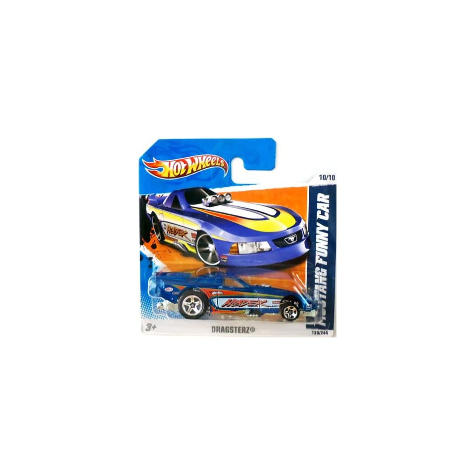 2011 Hot Wheels (Blue) MUSTANG FUNNY CAR #130/244, Dragsterz #10/10 (Short Card)