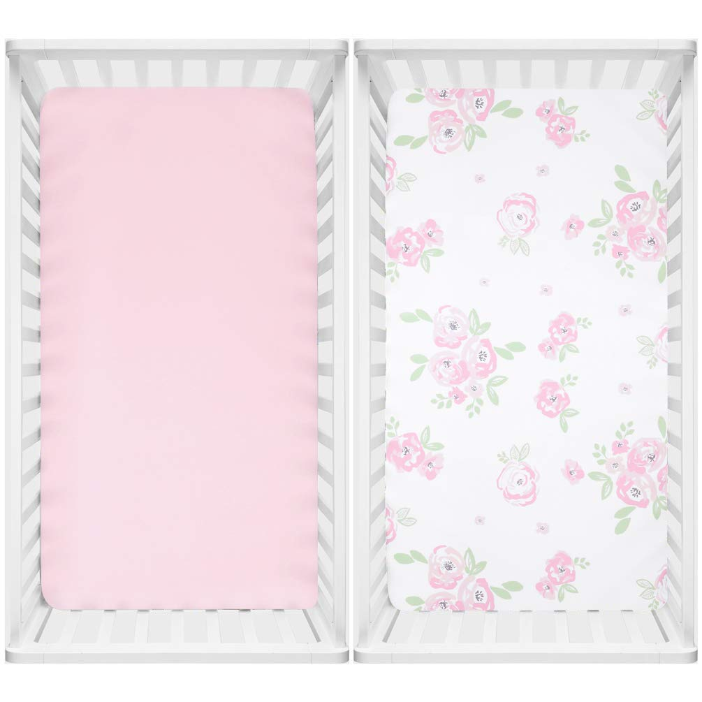 TILLYOU Microfiber Floral Crib Sheets for Girls, Silky Soft Toddler Sheets Printed, Hypoallergenic Breathable Cozy Baby Sheet Set, 28 x 52in, 2 Pack Rose Floral + Pink by TILLYOU