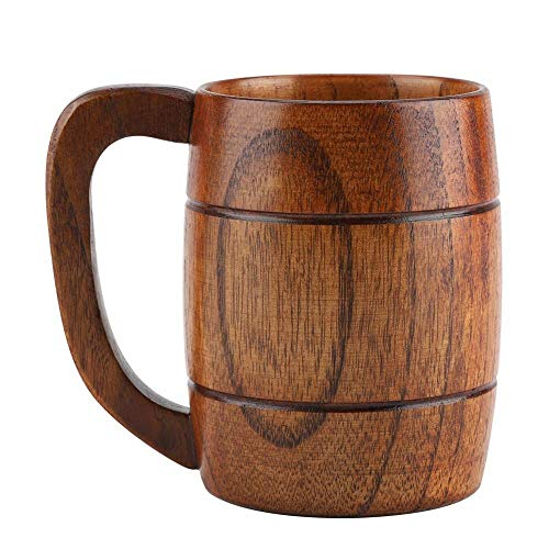 Huhushop 350mL Wooden Beer Mugs,Handmade Retro Brown Drinkware with Handle for Wine/Coffee/Tea Gift Drinking Cup for Men/Women