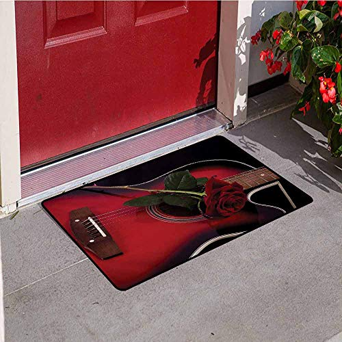 Jinguizi Red and Black Front Door mat Carpet Spanish Musician Portugal Guitar with Romance Theme Love Valentines Rose Machine Washable Door mat W23.6 x L35.4 Inch Ruby and White