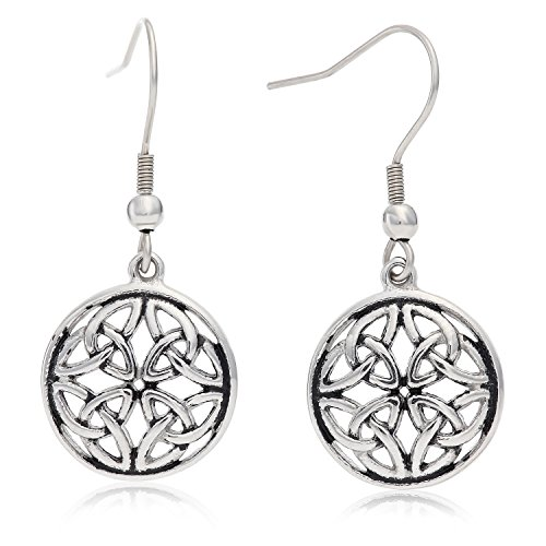 Stainless Steel Celtic-Knot Round Drop Earrings, With Fishhook Backing, For Pierced Ears, Great for Sensitive Ears, By Regetta Jewelry (Round Pierced Earrings)