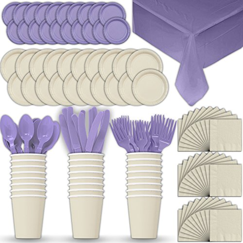 Paper Tableware Set for 24 - Cream & Lavender - Dinner and Dessert Plates, Cups, Napkins, Cutlery (Spoons, Forks, Knives), and Tablecloths - Full Two-Tone Party Supplies Pack (Cream Tableware)