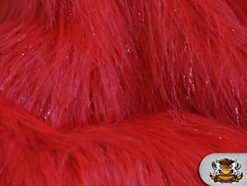 Faux Fur Long Pile Sparkling Tinsel RED Fabric / 58 W / Sold by the yard by FABRIC EMPIRE   B008YM7ZMW