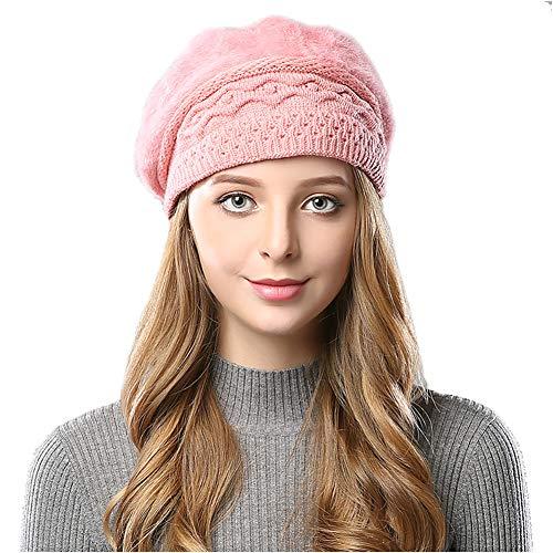 Elezay Women's Fleece Lined Beret Hat Weatherproof Cap Fashion Winter Pink