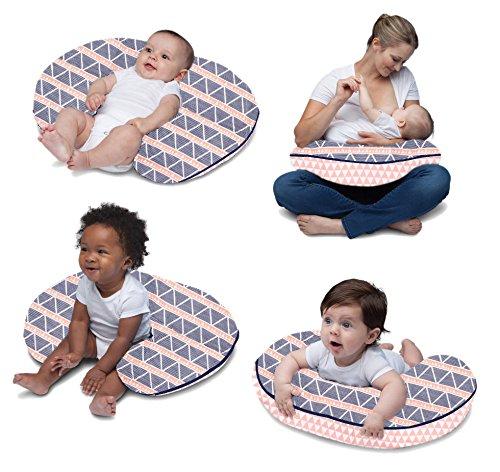 Nursing Pillow Cover Only, Aqua//Navy Large Triangles Aztec//Tribal Muslin Hugster Nursing Pillow Bacati
