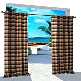 Extra Wide Gingham Plaid Outdoor Curtain 150'' W x 96'' L Eyelet Grommet For Traverse Rod at Front Porch Pergola Cabana Covered Patio Gazebo Dock and Beach Home CHOCOLATE DARK NAVY