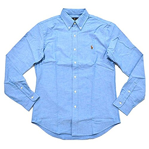 (Polo Ralph Lauren Men's Stretch Oxford Slim Fit Sport Shirt Optic Blue Large)