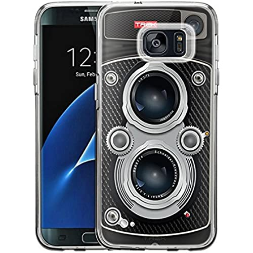 Samsung Galaxy S7 Edge Case, Snap On Cover by Trek Black Twin Reflex Camera One Piece Trans Case Sales