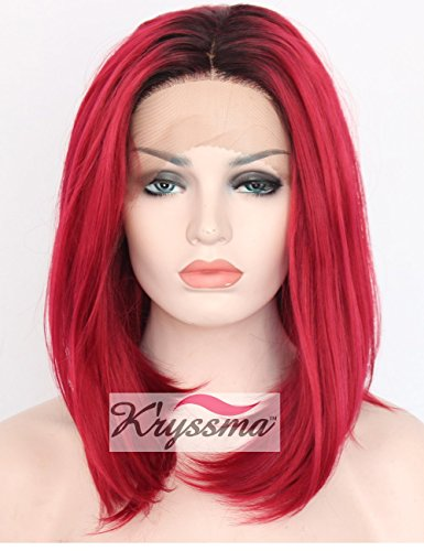 K'ryssma Fashion Women's Ombre Red Dark Roots Short Bob Synthetic Wigs 2 Tone Shoulder Length Straight Lace Front Wig For Cosplay Party Heat Resistant Fiber Hair