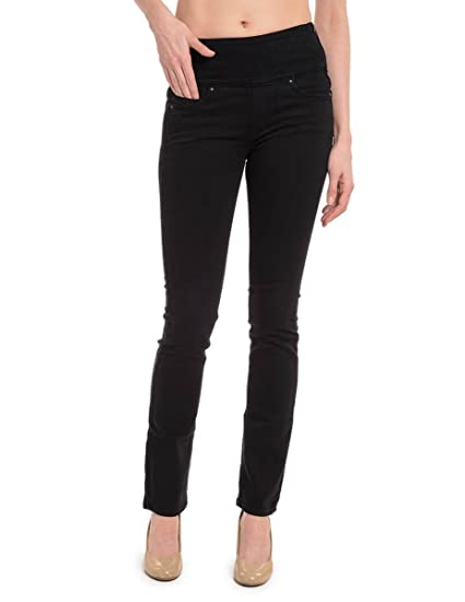 4ad3bfb6272677 SPANX Signature Waist Straight Leg Skinny Jeans With Side Zipper at Amazon Women's  Jeans store