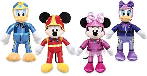 Racer Plush - Mickey and the Roadster Racers Cartoon Plush Figure Mickey Mouse-Minnie Mouse-Donald Duck-Daisy Duck Collector Toy Set of 4