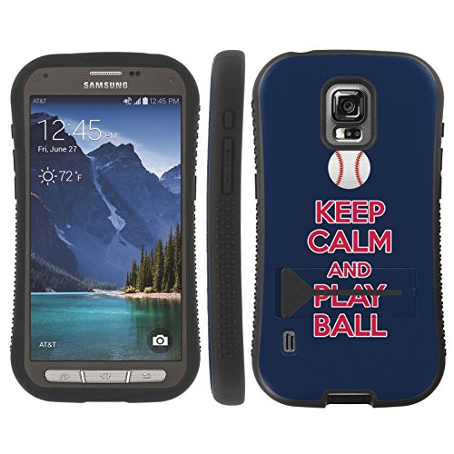 Mobiflare Armor Grip Phone Cover for [Samsung Galaxy S5 Active G870A] - Keep Calm and Play Ball - Cleveland