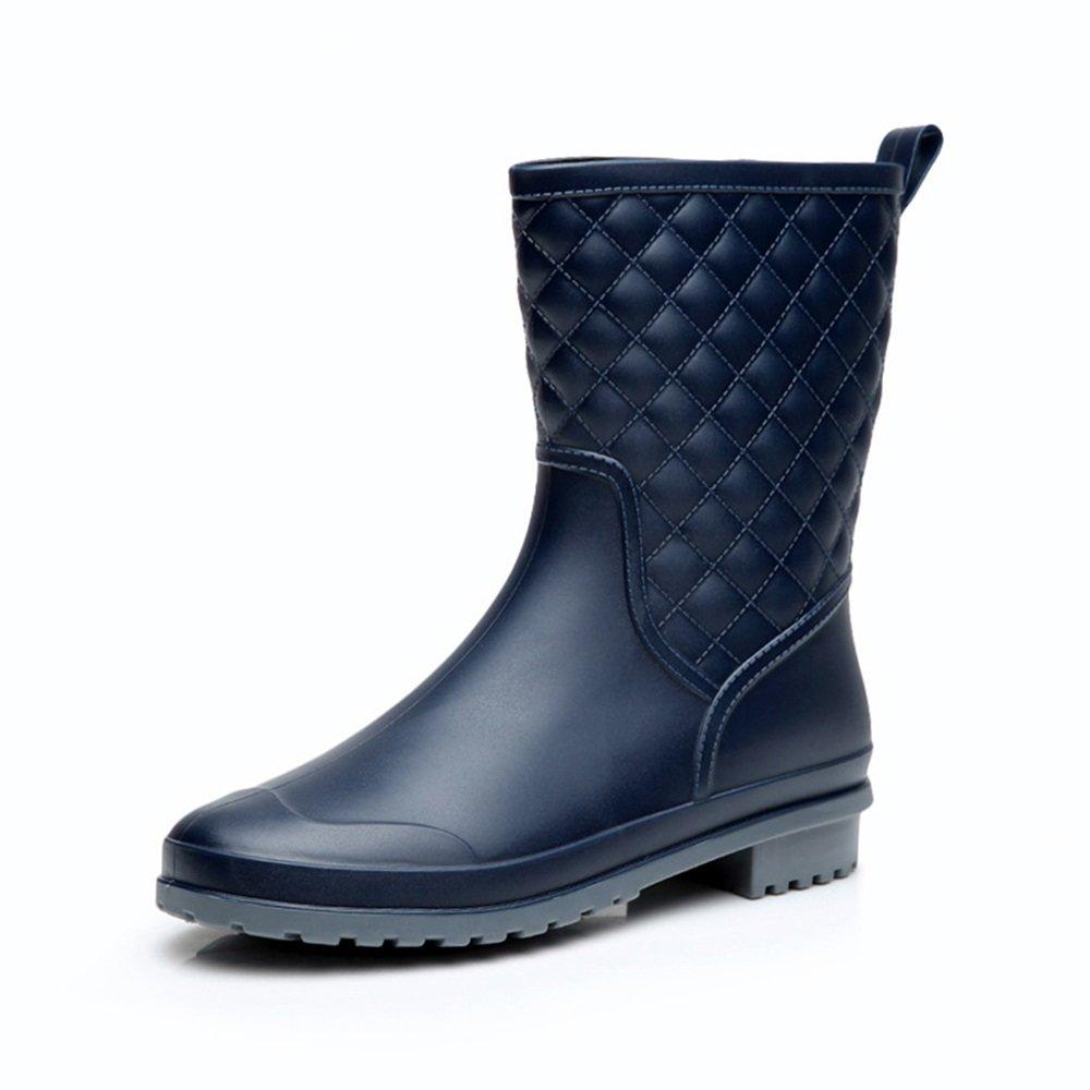 Regenschuhe Regen Stiefel Middle Tube Skid Resistant Wasserdichte Schuhe Frauen Tragbare Wasser Schuhe Gummi Schuhe Tragbare Frauen Umweltschutz Flache Stiefel Anti-Rutsch-Regenstiefel (Größe : 40 2/3 EU) - a9807e