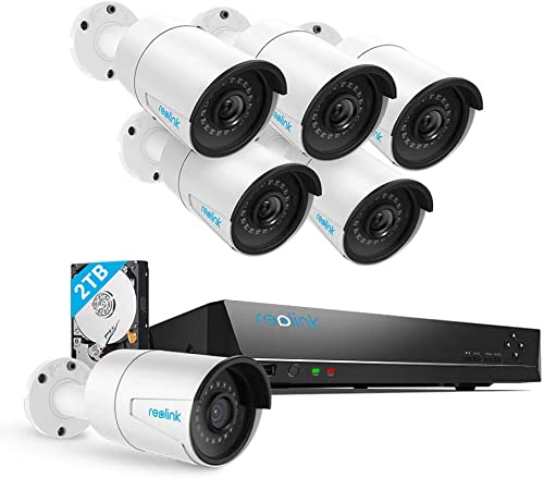Security Camera System PoE 4K 8 Channel NVR Kit, with 6pcs Bullet 5MP PoE Cameras, 2TB Hard Drive Included for 24 7 Surveillance Home Security, RLK8-410B6-5MP
