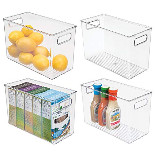 mDesign Plastic Food Storage Container Bin with Handles – for Kitchen, Pantry, Cabinet, Fridge/Freezer – Narrow Organizer for Snacks, Produce, Vegetables, Pasta – BPA Free, Food Safe – 4 Pack, Clear