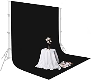 UTEBIT 5x7ft/1.5x2m Black Backdrop Cloth Portable Collapsible Chromakey Polyester Photo Background Sheet for Video Studio Photography YouTube(Backdrop Only)