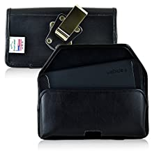 Nexus 6P Belt Case, Turtleback Nexus 6P Holster, Black Leather Pouch with Heavy Duty Rotating Belt Clip, Horizontal Made in USA