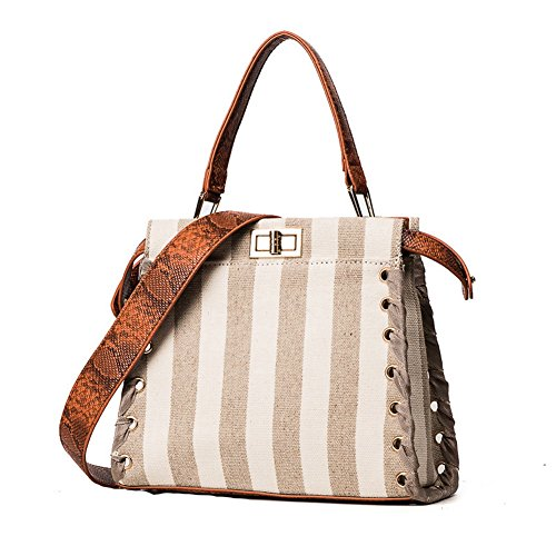 Vertical An Handle A Womens Canvas Khkai Handbag Casual amp;n Stripe Large waXRapq