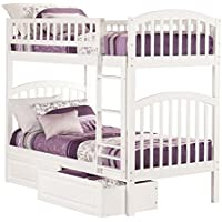 Richland Bunk Bed with Raised Panel Bed Drawers, White, Twin/Twin