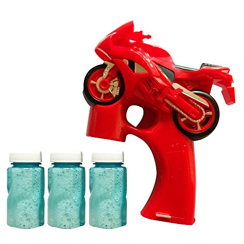 LilPals AMAZING MOTORCYCLE BUBBLE GUN SHOOTER – BUBBLE BLASTER FEATURES LIGHT, SOUND & 3 PRE-FILLED BUBBLE SOLUTION CARTRIDGES FOR KIDS 3 YEARS OLD AND UP (Three Modeled Light)